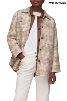 Whistles Emmie Wool Checked Overshirt