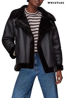 Whistles Lauren Faux Fur Biker Jacket
