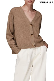 Whistles Brown Cashmere Cardigan