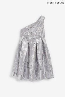 Monsoon One-Shoulder Floral Jacquard Dress