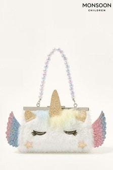 Monsoon Fluffy Unicorn Mini Bag