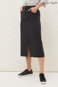 Phase Eight Grey Aubrey Denim Midi Skirt