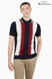 Ben Sherman Dark Navy Mod Stripe Short Sleeve Polo