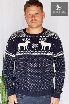 The Little Tailor Men's Blue Christmas Reindeer Fairisle Jumper