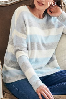 Pure Collection Blue Gassato Cashmere Relaxed Blue Stripe Sweater