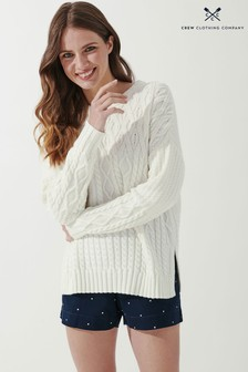 Crew Clothing Company Cream Camber Cable Jumper