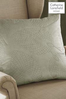 Catherine Lansfield Green Velvet Pinsonic Leaf Cushion