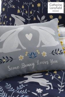 Catherine Lansfield Blue Woodland Rabbits Cushion