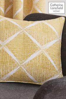 Catherine Lansfield Yellow Textured Diamond Cushion