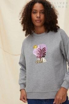 Oliver Bonas Grey Cut-Out Sequin Palm Grey Sweatshirt