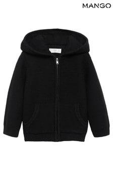 Mango Black Zip Hooded Cardigan