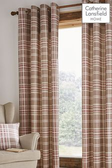 Catherine Lansfield Natural Tweed Woven Check Curtains