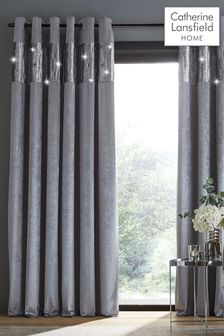 Catherine Lansfield Grey Crushed Velvet Glamour Sequin Curtains