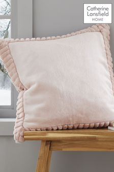 Catherine Lansfield Pink Velvet and Faux Fur Cushion