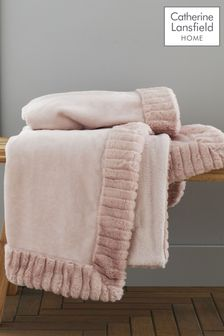 Catherine Lansfield Pink Velvet and Faux Fur Throw