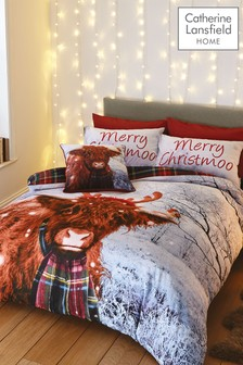Catherine Lansfield Grey Merry Christmoo Duvet Cover and Pillowcase Set