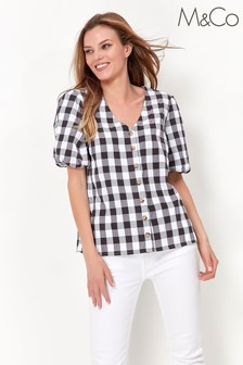 M&Co Gingham button blouse