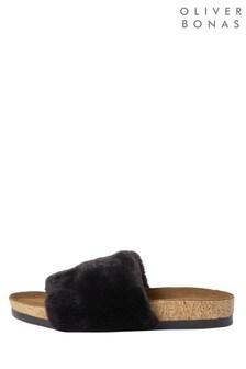Oliver Bonas Black Fur Strap And Cork Slippers