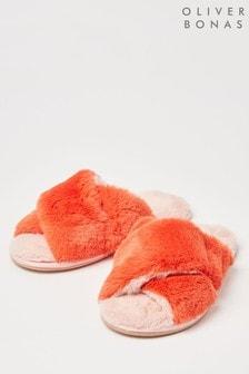 Oliver Bonas Orange Faux-Fur Crossover Slippers
