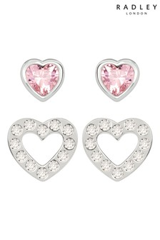 Radley Sterling Silver Pink and Clear Glass Stone Heart Shaped Stud Earrings