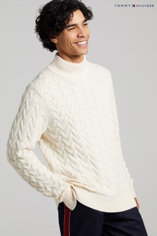 Tommy Hilfiger White Modern Cable Mock Neck Sweater