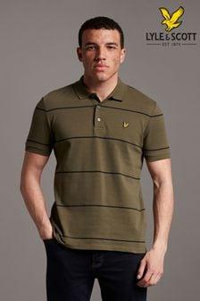 Lyle & Scott Green Wide Stripe Polo Shirt