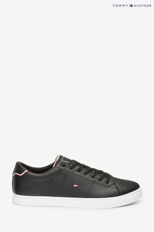 Tommy Hilfiger Black Essential Leather Trainers