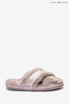 Tommy Hilfiger Pink Furry Home Slippers