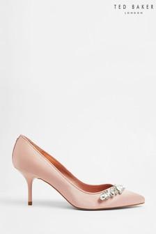 Ted Baker Pink Sparkal Embellished Crystal Mid Heel Courts