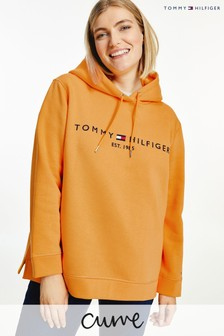 Tommy Hilfiger Womens Orange Curve Hoodie