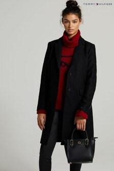 Tommy Hilfiger Black Wool Blend Coat
