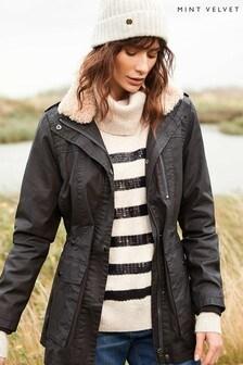 Mint Velvet Brown Brown Fur Collar Wax Jacket