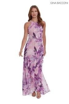 Gina Bacconi Analisa Chiffon Maxi Dress