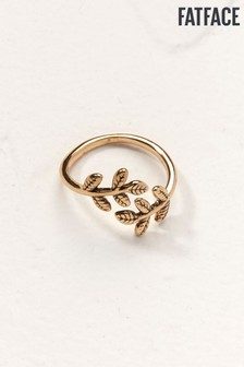 FatFace Gold Tone Leaf Ring