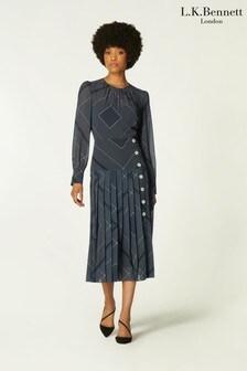 L.K.Bennett Elena Scarf Print Poly Pleat Dress
