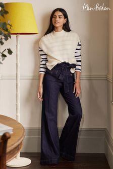Boden Blue Paperbag Wide Leg Jeans