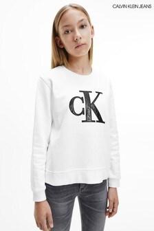 Calvin Klein Jeans Older Girls White Monogram Sweatshirt