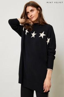 Mint Velvet Black Knitted Long Jumper