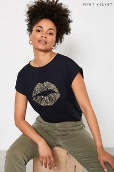 Mint Velvet Black Bead Lips Print T-Shirt