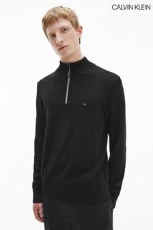 Calvin Klein Black Wool Quarter Zip Jumper