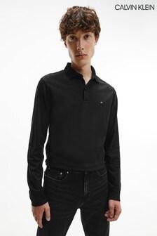 Calvin Klein Black Slim Long Sleeve Polo