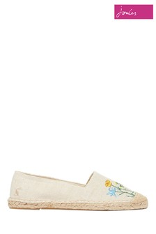 Joules White Shelbury Espadrille With Embroided Shoes