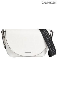 Calvin Klein White Trapezoid Shadow Saddle Bag