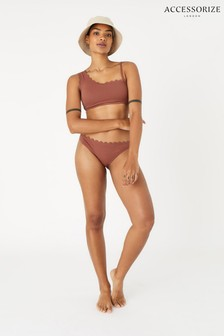 Accessorize Orange One-Shoulder Scallop Bikini Top