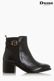 Dune London Black Poetic Buckle Block Heel Ankle Boots
