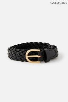 Accessorize Black Plaited Weave Leather Belt