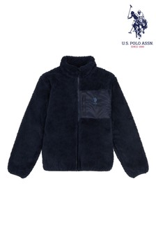 U.S. Polo Assn. Blue Zip Through Teddy Fleece