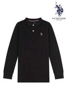 U.S. Polo Assn. Black Pique Long Sleeve Polo Shirt