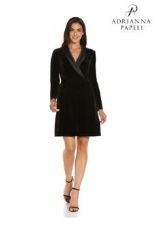 Adrianna Papell Womens Black Velvet Tuxedo Dress