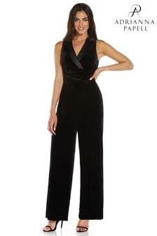 Adrianna Papell Womens Black Velvet Tuxedo Jumpsuit